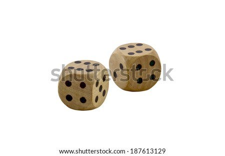 two wooden dice with black dots on white