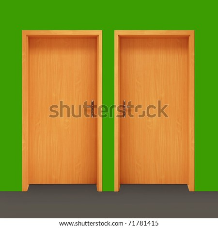 two wooden doors on green wall - stock photo