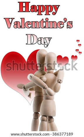 Two wooden figures hugging with Happy Valentine's Day in the background. - stock photo