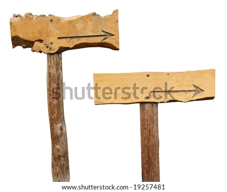 Two Wooden footpath / Arrows / Crossroad signs isolated on white to use in your designs - stock photo