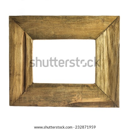Two wooden frame isolated on white - stock photo