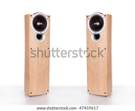 two wooden loudspeakers isolated on a white background - stock photo