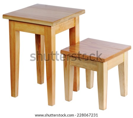 Two wooden rustic stool on a white background - stock photo