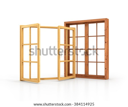 Two wooden windows isolated on a white background. - stock photo