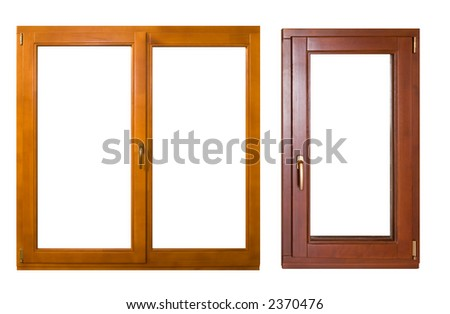 two wooden windows (with clipping path) - stock photo