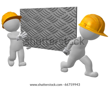 two work men carrying sheet of checker plate - stock photo