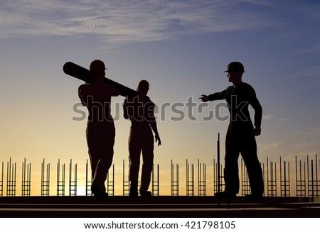 Two workers carry a pipe.3d render - stock photo