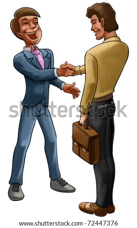 two workers doing a good deal between them - stock photo