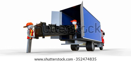 Two workers in reflective vest carrying a sofa  / Movers