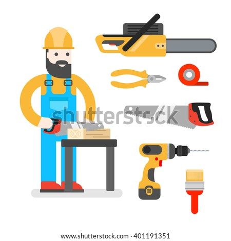 Two workers on white background. Construction workers with repair tools. Building specialists illustration. Good builder in uniform. Service man.  - stock photo