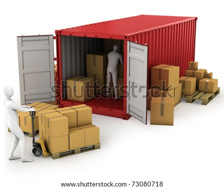 Two workers unload container, isolated on white background - stock photo