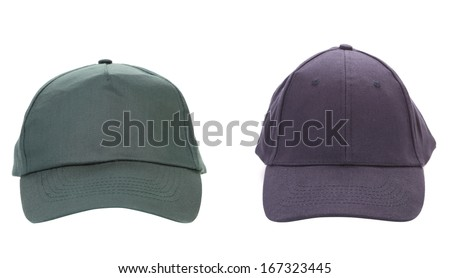 Two working peaked cap.  Isolated on white background