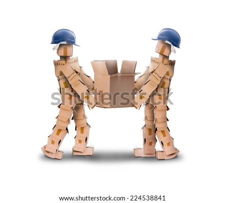Two workmen lifting a heavy box on a white background - stock photo