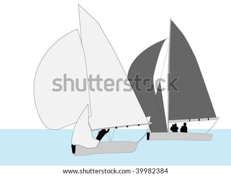 Two Yachts Racing on Water (illustration) - stock photo