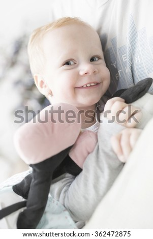 Two year old girl with blonde hair portrait - stock photo