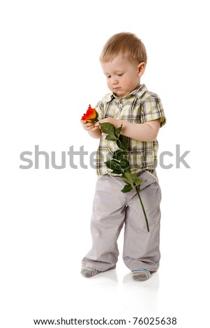 Two years boy standing full length isolated on white - stock photo