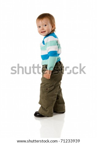 Two years boy standing turning back isolated on white - stock photo