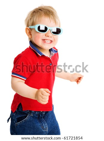 Two years boy wearing sunglasses isolated on white