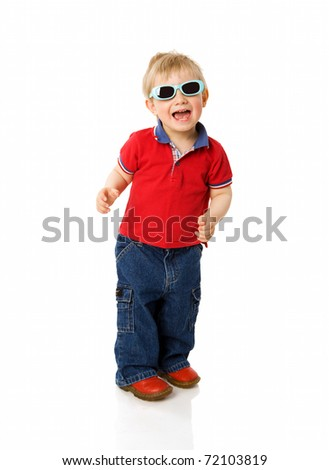Two years boy wearing sunglasses isolated on white - stock photo