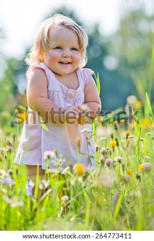 Two-years child at meadow in summer - stock photo
