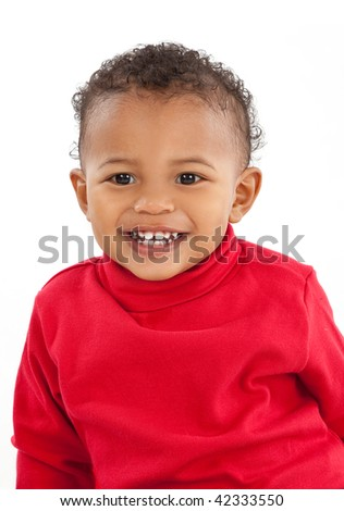 Two Years Old Adorable African American Boy Portrait on White Background Wearing Red Turtelneck Shirt - stock photo