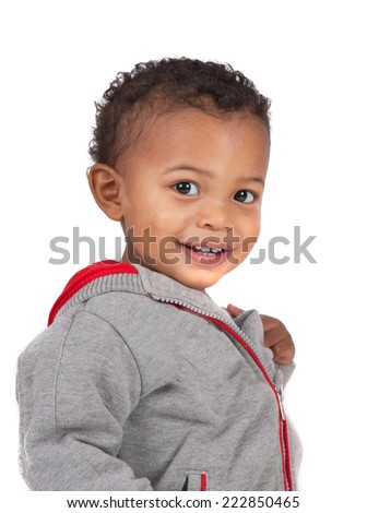 Two Years Old Adorable African American Boy Wearing Sweater Portrait on Isolated White Background - stock photo