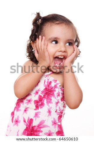 Two years old girl expressing surprise over white background - stock photo