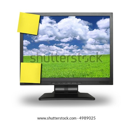 two yellow adhesive notes on lcd screen isolated on white, gentle shadow behind, photo inside is my property, - stock photo