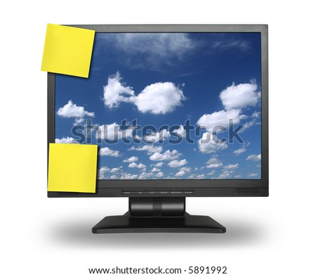 two yellow adhesive notes on lcd screen isolated on white, gentle shadow behind, photo inside is my property - stock photo