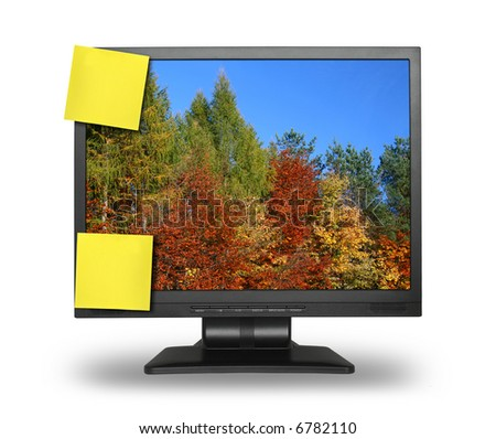 two yellow adhesive notes on lcd screen isolated on white, gentle shadow behind photo inside is my property - stock photo