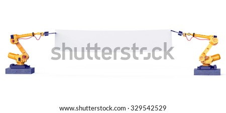 two yellow industrial robotic arms holding white blank banner 3d rendering. isolated on white background - stock photo