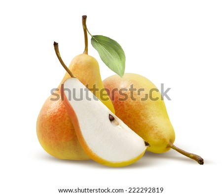 Two yellow pears and quarter split isolated on white background as package design element - stock photo