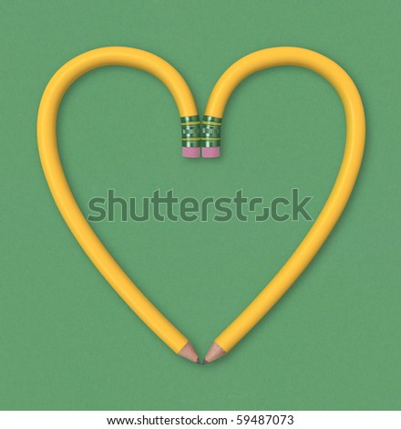 Two yellow pencils forming the outline of a heart on green paper background. Includes clipping path. - stock photo