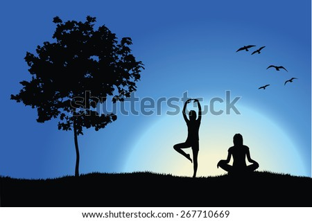 two yoga girls on hill near tree, blue background - stock photo
