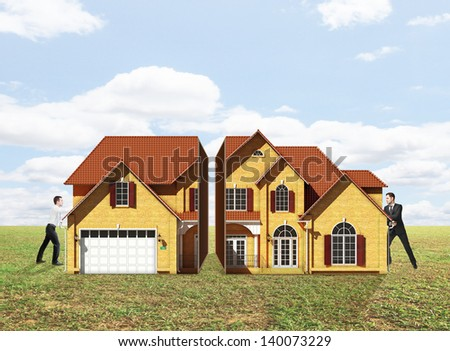 two yong businessman pushing house on nature background