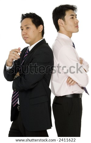 Two young asian businessmen on white background