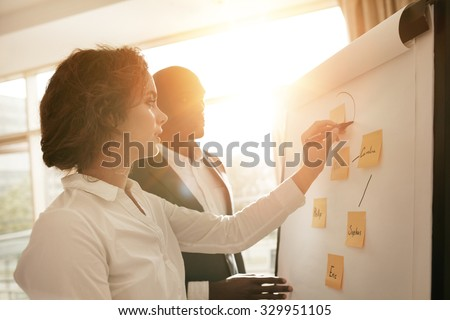 Two young associates working together drawing on flipchart. Businesswoman making a diagram on board and explaining it to male coworker during presentation in conference room. - stock photo