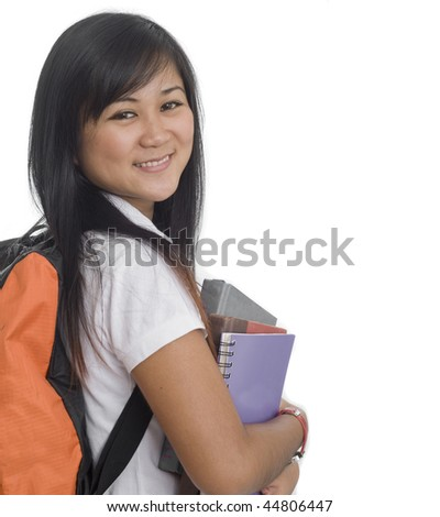 Two Young attractive female Asian student holding school books