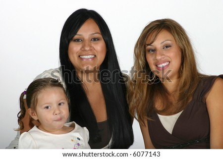 Two young attractive Hispanic women and a cute toddler girl