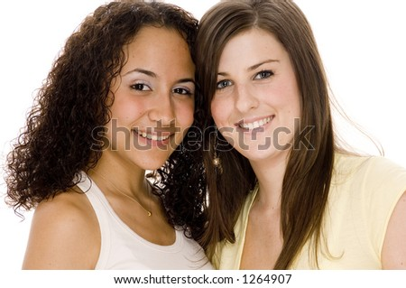 Two young attractive women of different races