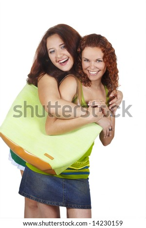 two young beautiful girls with handbag