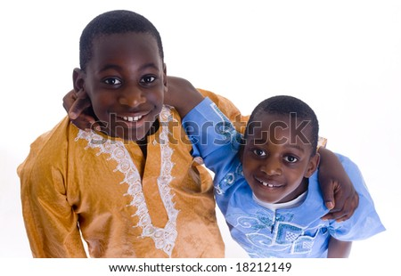 Two young black boy wearing native clothes - stock photo