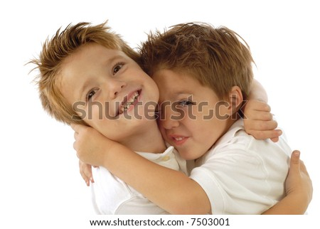 Two young boys playing around and laughing from joy; isolated on white - stock photo