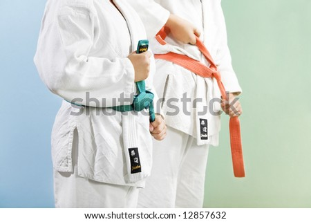 two young boys preparing to perform judo - stock photo