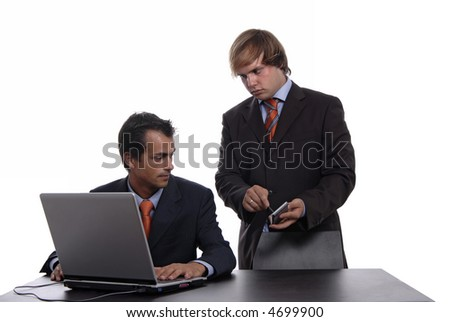 two young business man working with laptop