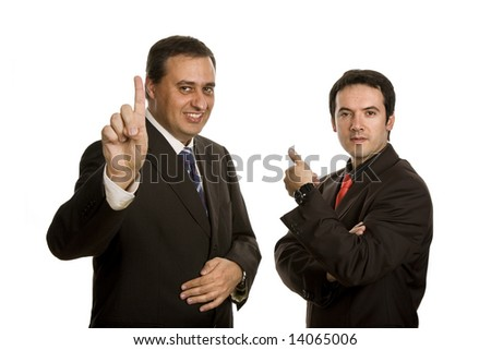 two young business men portrait, focus on the left man