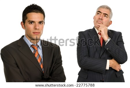 two young business men portrait, isolated on white