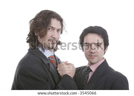 two young business men portrait on white... - stock photo