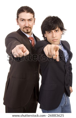 Two young business men selecting you with finger
