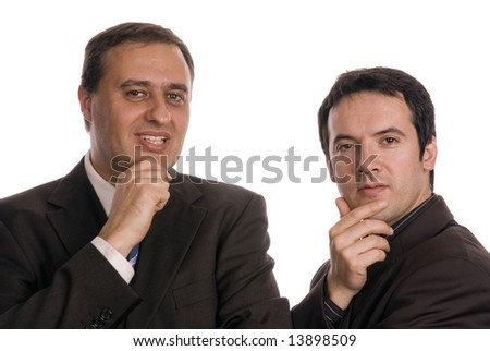 two young business men thinking on white
